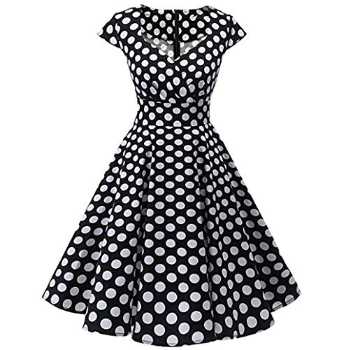 JHKUNO Women Dresses, Women's Vintage Patchwork Puffy A Line Swing Casual Party Dress