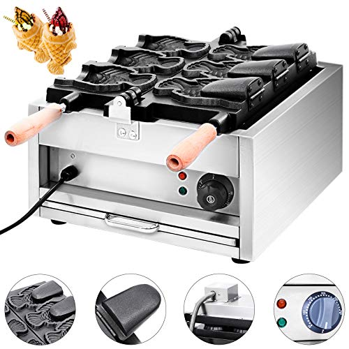 VEVOR Commercial Taiyaki Maker 3Pcs Electric Nonstick Waffle Machine 2000W for Restaurant Home Use, 3xTaiyaki
