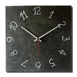 Decorative Wall Clock 12-inch - Square Metal Rustic Original - Silent Non Ticking Quartz for Home