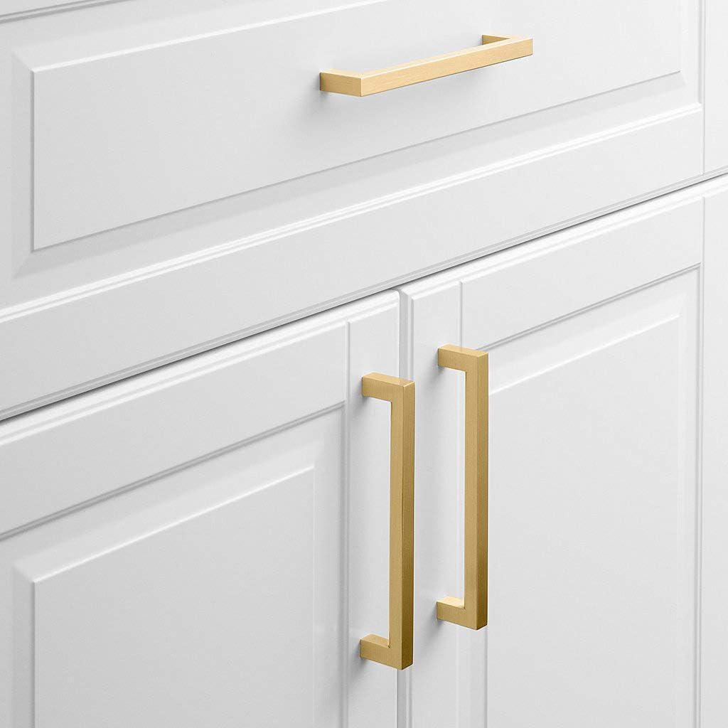 5 pieza Oro cálido Golden Muebles Tiradores Acero Inoxidable Tubo cuadrado latón cepillado puerta Tiradores lsj12gd – Tirador para cajón Tirador para Incluye Tornillo: Amazon.es: Bricolaje y herramientas