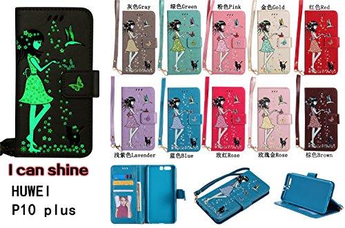 für Huawei P10 Plus Hülle Flip-Case Premium Kunstleder Tasche im Bookstyle Klapphülle mit Weiche Silikon Handyhalter Lederhülle für Huawei P10 Plus (5.5 Zoll) Luminous Mädchen Katze case Hülle +Stöpse 10