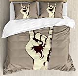 Rock Music Duvet Cover Set Queen Size by Ambesonne, Devil Sign Vintage Symbol Illustration Hand Gesture Abstract Musical Elements, Decorative 3 Piece Bedding Set with 2 Pillow Shams, Taupe Ivory
