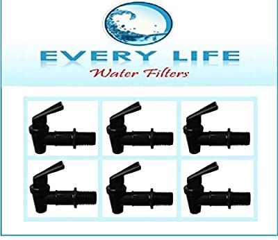 Black Plastic Faucet 6-pack, 3/4 Inch, Spigots, Water Filter Bucket, Water Crock Tap, Replacement Beverage Dispenser Tap with Washers and Nut