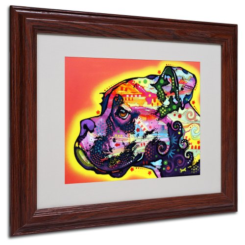 Pop Art Boxer - Profile Boxer Matted Artwork by Dean Russo with Wood Frame, 11 by 14-Inch