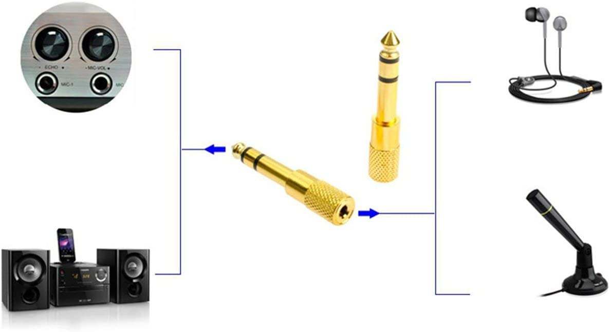 Detectorcatty 3.5mm to 6.35mm Jack Plug Female to Male Audio Converter Stereo Audio Headphone Jack Adapter Converter Connector
