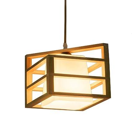 WOF Lámpara colgante de madera del estilo simple de la ...