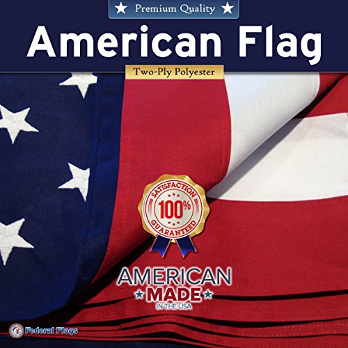 4x6ft US United States Double Weight Polyester American Flag Embroidered Stars - Sewn Stripes ()