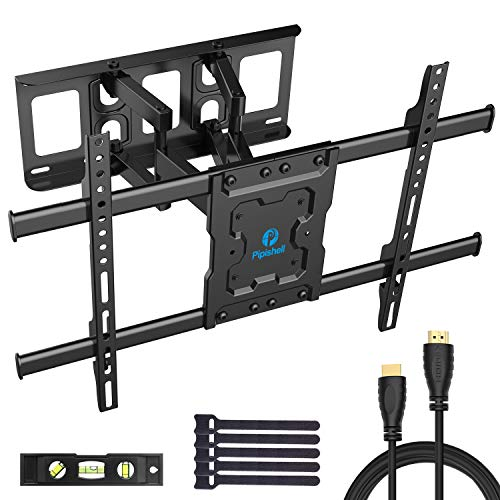 (Full Motion TV Wall Mount Bracket Dual Articulating Arms Swivels Tilts Rotation for Most 37-70 Inch LED, LCD, OLED Flat&Curved TVs, Holds up to 132lbs, Max VESA 600x400mm by Pipishell )