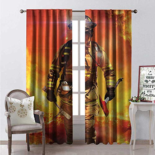 (Hengshu Fireman Window Curtain Fabric Firefighter Figure in a Building on Fire Searching for Survivors Emergency Services Drapes for Living Room W120 x L108 Multicolor)