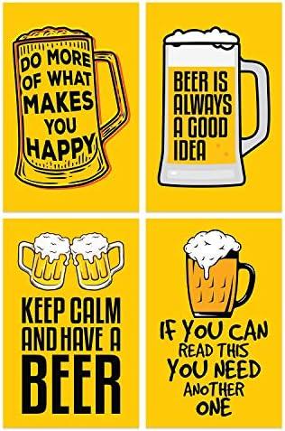 Damdekoli Funny Beer Posters 11x17 Inches Set of 4 Dorm Wall Art Print College Drinking V2 / Damdekoli Funny Beer Posters 11x17 Inches Set of 4 Dorm Wall Art Print College Drinking V2