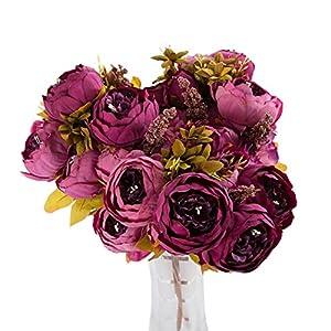Artificial Peony Flowers, 1 Bouquet Vintage Artificial Peony Silk Flowers (Purple) 107