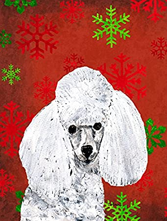 Carolines Treasures Sc9749chf White Toy Poodle Red Snowflakes Holiday Flag Canvas Large Multicolor