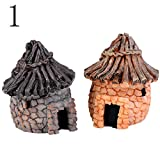 JiaUfmi 1 Piece Miniature Fairy Garden Mini Thatched House Ornament Dollhouse Plant Pot Figurine DIY Decor Home Decoration