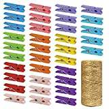 Mini Natural Wooden Clothespins with Jute Twine, 100pcs, 1.4 Inch Photo Paper Peg Pin Craft Clips with 320ft Natural Twine for Scrapbooking, Arts & Crafts, Hanging Photos (10 Colors)
