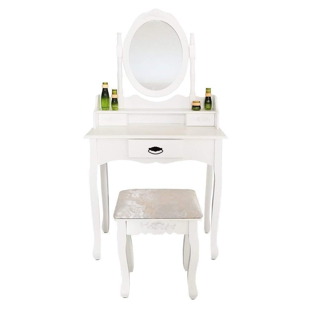Joolihome Makeup Vanity White Table Set 3 Drawers Wood Bedroom Dressing Table Stool Set with Oval Mirror by Joolihome (Image #1)