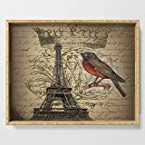 """Society6 Serving Tray with handles, 18"""" x 14"""" x 1 3/4"""", I love Paris Shabby chic Robin French Scripts Jubilee Crown Vintage Paris Eiffel Tower by chicelegantboutique"""
