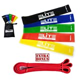 Mini Resistance Loop Bands - Set of 6 Exercise Bands Includes Bonus Pull Up Assist Bands-Carrying Bag, Great for Yoga Pilates Rehabilitation Stretching Strength Training Crossfit, Official Elite Athletic Bands