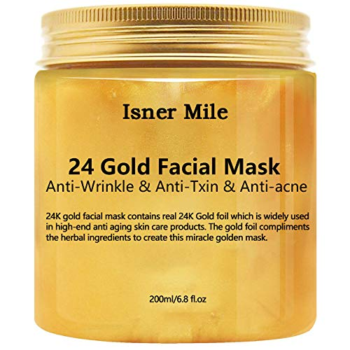 24k Gold Face Mask, Anti-Wrinkle Anti-Fine Lines Anti-Toxin and Face Moisturizer, Facial treatment by SAISZE - 6.8oz