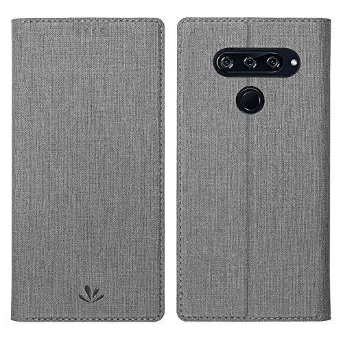 Simicoo LG V40 ThinQ Flip PU Leather Wallet Case Card Holster Stand Magnetic Cover Clear Silicone TPU Full Body Shockproof Pocket Thin Wallet Case for LG V40 ThinQ (Gray, LG V40 ThinQ)