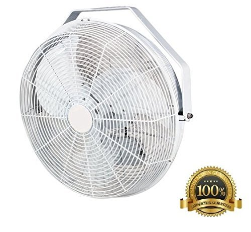 POW18 18 Inch White Indoor and Outdoor Wall, Ceiling, or Pole Mount Fan 3120 CFM 3 Speed, Industrial Grade, Design for Restaurant, Barns, Back Yard, Works with Misters J&D Manufacturing