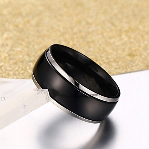 SAINTHERO Men's Wedding Bands Vintage 8MM Tungsten Titanium Steel Enternity Promise Rings for Him High Polished Comfort Fit Size 7 by SAINTHERO (Image #2)
