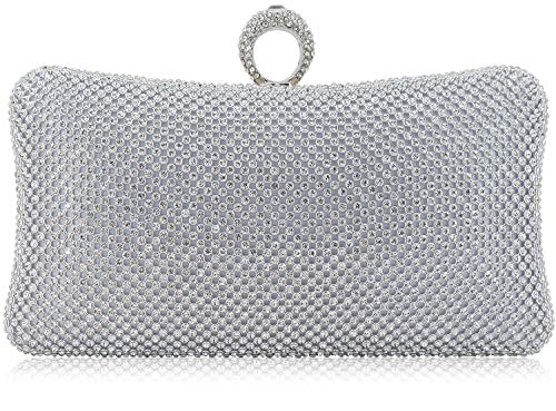 Dexmay Ring Rhinestone Crystal Clutch Purse Luxury Women Evening Bag for Bridal Wedding Party ()