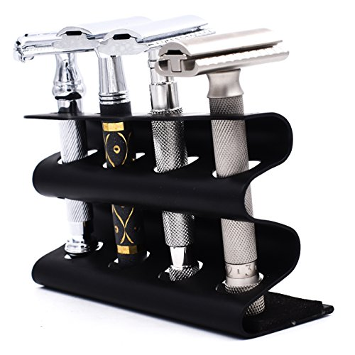 (Parker's Double Edge Safety Razor Stand - Holds Four Razors - Great for Parker, Merkur, Gillette and All Other Standard Safety Razors (Black))