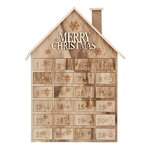 Advent Calendar House Wooden Christmas Calendar with 24 (Pioneer Tabletop Stand)