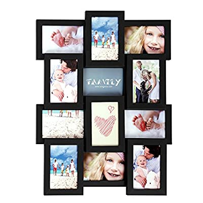 SONGMICS Collage Picture Frames for 12 Photos in 4 x 6 Inches, Assembly Required, Collage Multiple Photos, Glass Front, Wooden Grain, Black URPF26BK