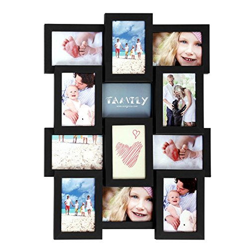 SONGMICS Picture Frames for 12 4 x 6 Inches Collage Multiple Photos Glass Front, Assembly Required, Black Wooden Grain URPF26BK