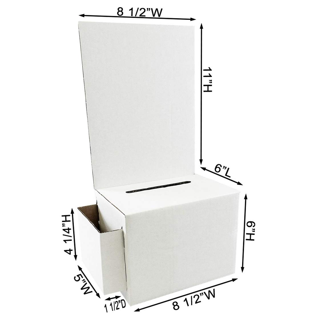Cardboard Ballot Box with White Removable Header (Carton of 10) by Affordable Display Products