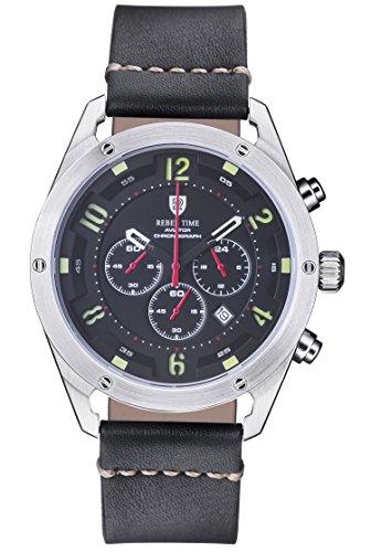 Rebel Men's Aviator Night Black Stainless Steel Chronograph Pilot Watch 100 Meter WR by Rebel Time