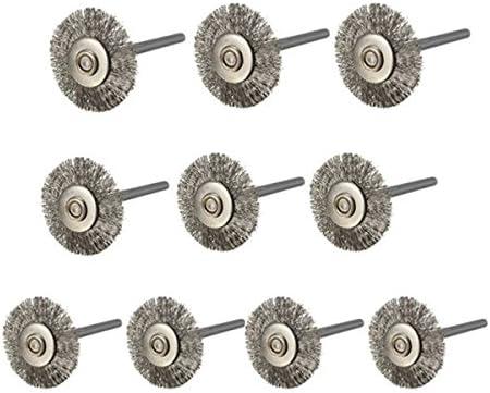 KUNSE 10Pcs 22Mm Stahl Drahtrad Bürste Für Dremel Rotationswerkzeuge