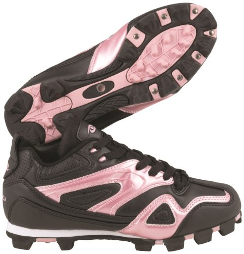 ACACIA Base Hit-Low Baseball/Softball Shoes, Black/Pink, (Low Softball Shoe)