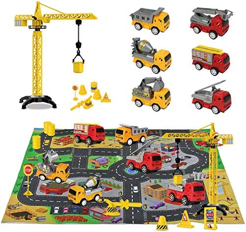 Construction Toys with Play Mat Pull Back Cars Excavator Toys Include Road Signs Dump Truck Construction Vehicles Toys Birthday for 3 4 5 6 Years Old Boys Girls Toddlers