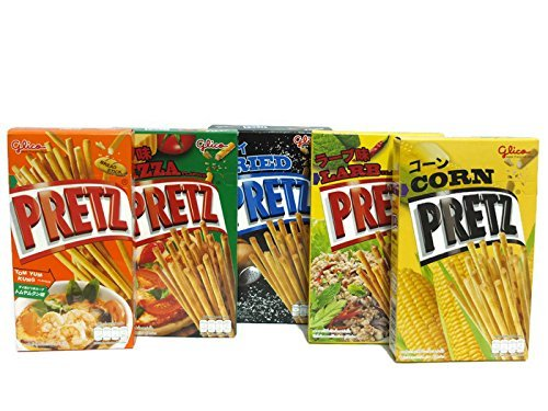 (5 Flavour Glico Pretz, Larb, Tomyumkung, Fried, Corn, Pizza (Pack of 5 Box))