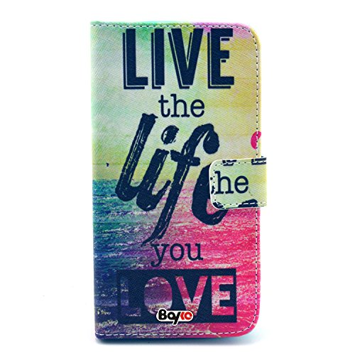 Bayke Brand / Samsung Galaxy Note 4 Smartphone Case PU Leather Wallet Type Flip Case Cover with Credit Card Holder Slots for Samsung Galaxy Note 4 [SM-N910S / SM-N910C] (Live the Life You Love Pattern Design)