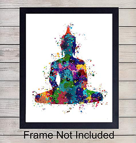 Buddha Meditation Watercolor Art Print - 8x10 Unframed Photo - Perfect Gift for Yoga or Zen Enthusiasts - Chic Home or Studio Decor