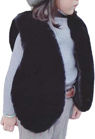 PengGengA Girls Faux Fur Vest Winter Warm Artificial Fur Jacket Coat Vest Waistcoat