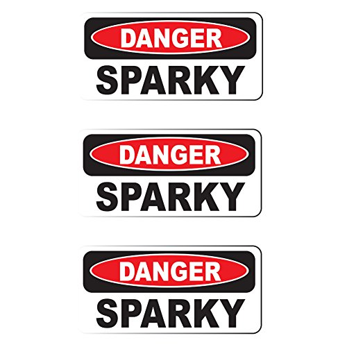 (Danger SPARKY (3 PACK) Vinyl Hard Hat Helmet decal - size: 2