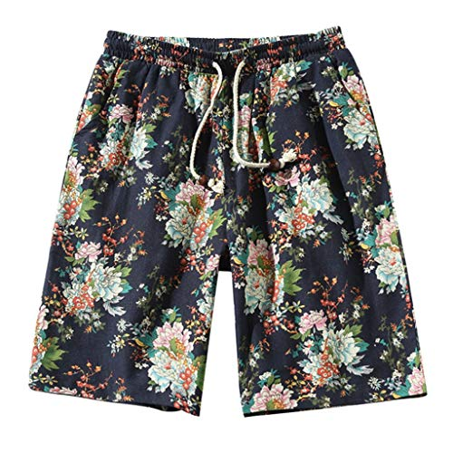 Aliturtle New Men's Drawstring Strapped Plus Size Petals Printing Shorts Casual Loose Fit Sports Quick Dry Beach Short ()