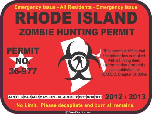 Rhode Island zombie hunting permit decal bumper sticker