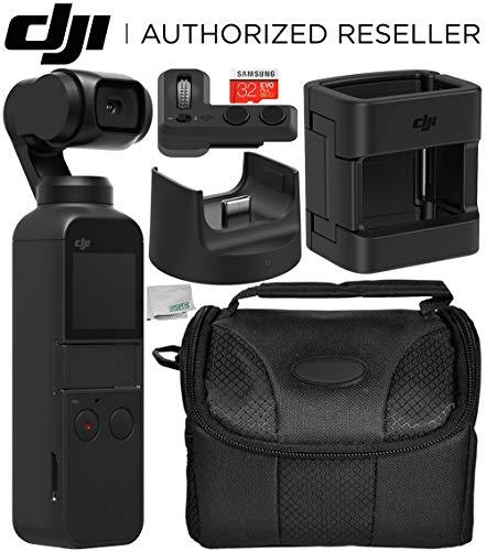 DJI Osmo Pocket Gimbal with DJI Expansion Kit and Starter Accessory Bundle - Includes: 32GB microSDHC Memory Card + DJI Control Wheel + DJI Accessory Mount + DJI Wireless Module Base + More ()