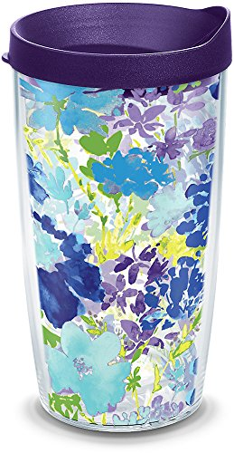 Tervis 1290785 Fiesta-Purple Floral Tumbler with Wrap and Royal Lid, 16oz, Clear ()