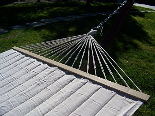 Petra Leisure 14 Ft. Brown Stain, Wooden Arc Hammock Stand + Quilted Beige, Double Padded Hammock Bed. 2 Person Bed. 450 LB Capacity