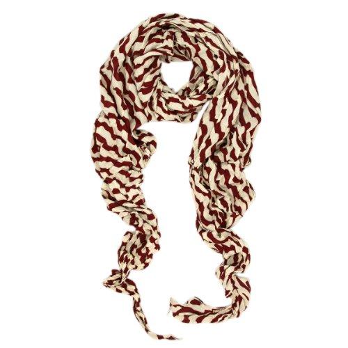 Stripe Crinkle Scarf (Premium Lightweight Long Crinkle Stripe Scarf, Burgundy)