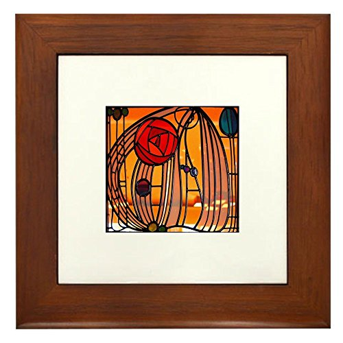 (CafePress - Charles Rennie Mackintosh Stained Glass Framed Til - Framed Tile, Decorative Tile Wall Hanging)