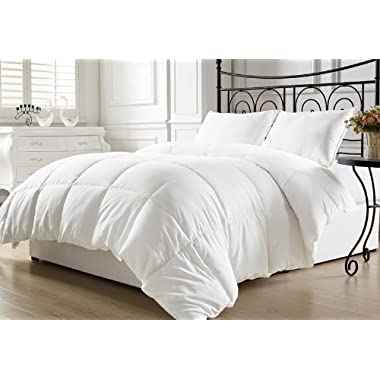 Chezmoi Collection King Goose Down Alternative Comforter with Corner Tab, White