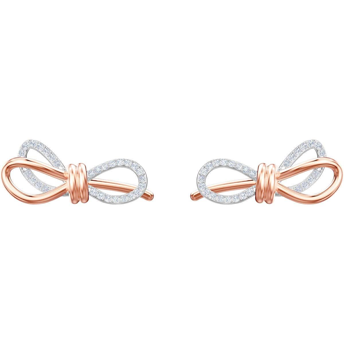Swarovski Crystal Two-Tone Small Bow Stud Earrings
