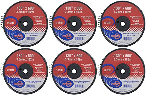 Six (6) Pack of Vortex Trimmer Line 12181, 0.130 X 600' 5 LBS Spools by Rotary